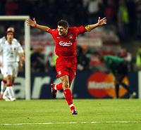 Steven Gerrard Celebrates scoring 1st goal Liverpool<br />AC Milan Vs Liverpool 25/05/05<br />The UEFA Champions League Final<br />Ataturk Olympic Stadium in Istanbul<br />Photo Robin Parker Fotosports International