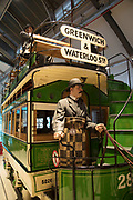 Horse drawn tram at London Transport Museum in London, England, United Kingdom. The London Transport Museum, or LT Museum based in Covent Garden, seeks to conserve and explain the transport heritage of Britains capital city. The majority of the museums exhibits originated in the collection of London Transport, but, since the creation of Transport for London, TfL, in 2000, the remit of the museum has expanded to cover all aspects of transportation in the city.