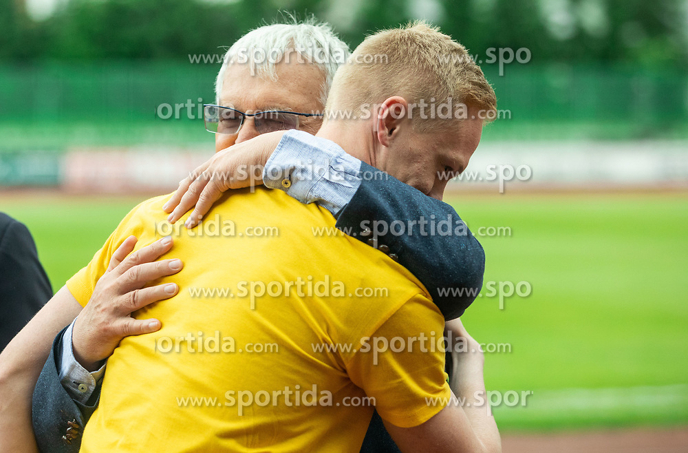 Domen Gril during celebration of NK Bravo, winning team in 2nd Slovenian Football League in season 2018/19 after they qualified to Prva Liga, on May 26th, 2019, in Stadium ZAK, Ljubljana, Slovenia. Photo by Vid Ponikvar / Sportida