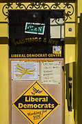 In the constituency of Conservative Home Secretary, Amber Rudd, is the Liberal Democrat party window in St. Leonards, on 29th April 2017, In St Leonards, East Sussex, England.