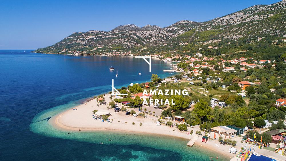 Aerial view of famous beach in Viganj on Peljesac island in Croatia.