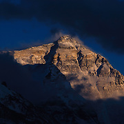 Everest's North Face at sunset from Rongbuk Basecamp, Tibet.