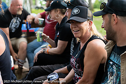 TMMR promoter Carrie Repp on a hayride during the Tennessee Motorcycles and Music Revival at Loretta Lynn's Ranch. Hurricane Mills, TN, USA. Sunday, May 23, 2021. Photography ©2021 Michael Lichter.