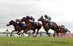 Chocolate Music ridden by Colm O'Donoghue (left) wins The Irish Stallion Farms EBF Fillies Maiden during day two of the Darley Irish Oaks Weekend at Curragh Racecourse, County Kildare.