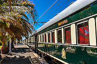 "Rovos Rail train  ""Pride of Africa"" at the train station at Matjiesfontein on it's journey between Pretoria and Cape Town, South Africa."