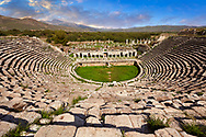 Roman theatre of Aphrodisias dedicated to Aphrodite and the people of the city by Julius Zoilos in the  2nd half of 1st century BC. Seats over 8000 people. Aphrodisias Archaeological Site, Aydin Province, Turkey. .<br /> <br /> If you prefer to buy from our ALAMY PHOTO LIBRARY  Collection visit : https://www.alamy.com/portfolio/paul-williams-funkystock/aphrodisias-site-turkey.html<br /> <br /> Visit our TURKEY PHOTO COLLECTIONS for more photos to download or buy as wall art prints https://funkystock.photoshelter.com/gallery-collection/3f-Pictures-of-Turkey-Turkey-Photos-Images-Fotos/C0000U.hJWkZxAbg