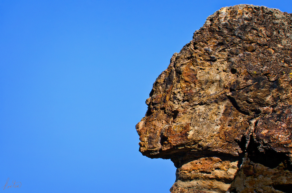 A natural rock formation in the John Day wilderness in Eastern Oregon that resembles a Spinx.