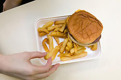 Unhealthy school meal of burger and chips; government guidelines encourage schools to replace less healthy options with more fresh fruit; vegetables and fish,