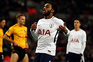 Danny Rose of Tottenham Hotspur reacts after missing a chance to score a goal. The Emirates FA Cup, 4th round replay match, Tottenham Hotspur v Newport County at Wembley Stadium in London on Wednesday 7th February 2018.<br /> pic by Steffan Bowen, Andrew Orchard sports photography.