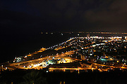 Israel, Haifa, Night view of the city and Haifa Bay from Stella Maris on the Carmel Mountain