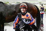 Danielle Johnson, winner of Race 7, Haunui Farm King's Plate (G3) 1200.<br /> Vodafone Derby Day at Ellerslie Race Course, Auckland on Sunday 7th March 2021 during lockdown level 2.<br /> Copyright photo: Alan Lee / www.photosport.nz