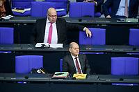 08 DEC 2020, BERLIN/GERMANY:<br /> Peter Altmaier (L), MdB, CDU, Bundeswirtschaftsminister, und Olaf Scholz (R), MdB, SPD, Bundesfinanzminister, Haushaltsdebatte, Plenum, Reichstagsgebaeude, Deuscher Bundestag<br /> IMAGE: 20201208-02-013