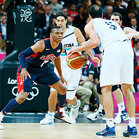06 August 2012: USA Russell Westbrook is seen on defense during 126-97 Team USA victory over Team Argentina, during the men's basketball preliminary, at the Basketball Arena, in London, Great Britain.
