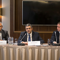 Zurab Pololikashvili (C) secretary of UNWTO talks alongside Marcelo Risi (L) Communications Director of UNWTO and Csaba Domotor (R) state secretary of the Prime Minister's Cabinet during a World Tourism Day press conference in Budapest, Hungary on Sept. 27, 2018. ATTILA VOLGYI