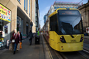 Electric tram public transport system in Manchester, England, United Kingdom. Metrolink is a tram/light rail system in Greater Manchester, England. The system is owned by Transport for Greater Manchester and operated and maintained under contract by a Keolis/Amey consortium. Manchester is a major city in the northwest of England with an industrial heritage.