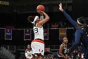 January 8, 2017: Adrienne Motley #23 of Miami in action during the NCAA basketball game between the Miami Hurricanes and the Notre Dame Fighting Irish in Coral Gables, Florida. The 'Irish defeated the 'Canes 67-55.