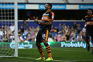 GOAL / CELE - Aleksandar Mitrovic of Newcastle United celebrates scoring his sides fifth goal to make it  0-5. EFL Skybet football league championship match, Queens Park Rangers v Newcastle Utd at Loftus Road Stadium in London on Tuesday 13th September 2016.<br /> pic by John Patrick Fletcher, Andrew Orchard sports photography.
