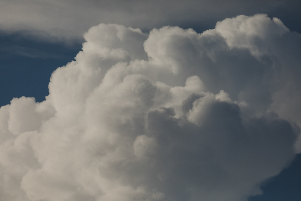 A thunderhead cloud illuminated by afternoon sunlight on a stormy summer day.