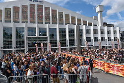 """© Licensed to London News Pictures. 21/07/2017. London, UK. Contestants, fans and friends and family gather outside Wembley Arena ahead of """"X Factor Bootcamp"""".   Photo credit : Stephen Chung/LNP"""