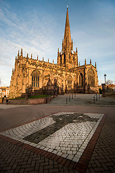 Rotherham Minster bathed in Winter Sunlight December 2016<br /> All Saints Church, Rotherham, also known as Rotherham Minster has been a a site of Christian worship for over 1,000 years. The origins of the church are fourteenth century while the tower is early fifteenth century. The rest of Rotherham Minster is of the sixteenth to eighteenth centuries or from the substantial restoration of 1873-5. <br /> <br /> 8 December 2012<br /> Image © Paul David Drabble