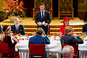 Staatsbezoek aan Nederland van Zijne Majesteit Koning Filip der Belgen vergezeld door Hare Majesteit Koningin <br /> Mathilde aan Nederland.<br /> <br /> State Visit to the Netherlands of His Majesty King of the Belgians Filip accompanied by Her Majesty Queen<br /> Mathilde Netherlands<br /> <br /> op de foto / On the photo: King Philippe and Queen Mathilde of Belgium and King Willem-Alexander and Queen Maxima of The Netherlands with Prime minister Mark Rutte attend a lunch hosted  by the Dutch government at the Ridderzaal in The Hague
