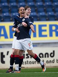 Falkirk's Farid El Alagui celebrates after scoring their goal..Half time. Falkirk 1 v 2 Livingston, 24/3/2012. .©Michael Schofield.