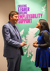 Pictured: Mr Hepburn chatted to Butal Hassan, In Work Support Advisor with Remploy who found her job through support from Remploy.<br /> <br /> Today, Employability and Traning Minister Jamie Hepburn visited Remploy in Edinburgh and met providers delivering the support to people with health conditions and disabilities and heard from people who have been helped into work through previous employability schemes.  Mr Hepburn met representatives from Progress Scotland, Reploy, Momentum Scotland, Wise Group and the Shaw Trust<br /> <br /> Ger Harley | EEm 3 April 2017