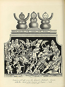 Victory of Cali [Kali] over the Giant Mahish Asura [Mahishasura] With the Idols of the Temple of Jagan-Nath [Jagannath] Copperplate engraving From the Encyclopaedia Londinensis or, Universal dictionary of arts, sciences, and literature; Volume X;  Edited by Wilkes, John. Published in London in 1811