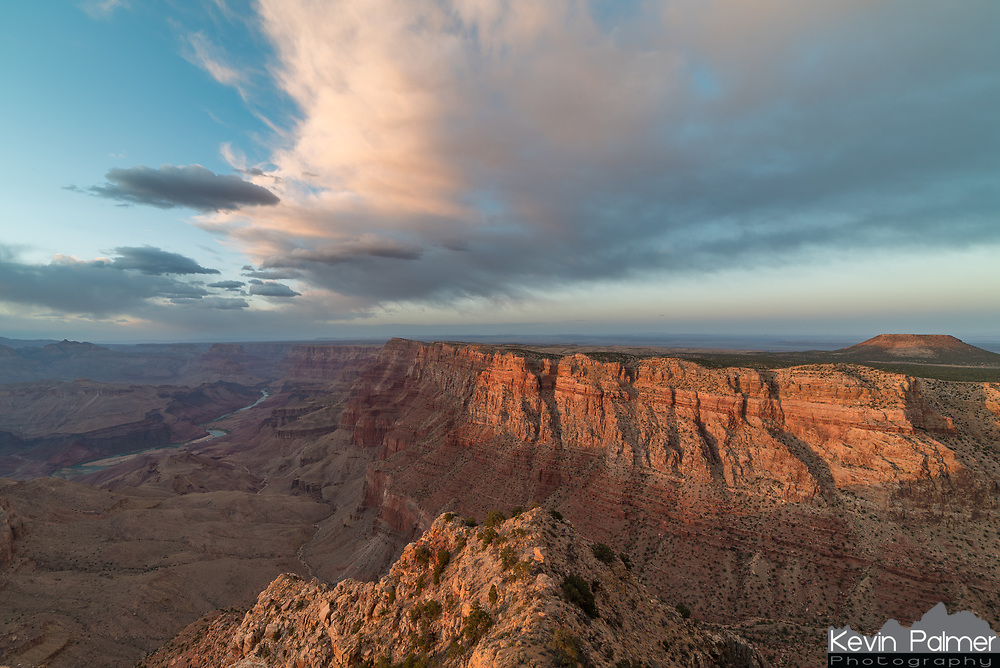 For most of the evening the sun hid behind clouds. But finally just before sunset, golden sunbeams emerged and flooded the canyon with light. I shot the sunset from Desert View, on the east side of the South Rim. I thought this viewpoint was off the beaten path, away from the watchtower. But just out of the frame at the bottom someone had spoiled the view with graffiti.