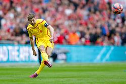 Steven Gerrard of Liverpool crosses the ball - Photo mandatory by-line: Rogan Thomson/JMP - 07966 386802 - 19/04/2015 - SPORT - FOOTBALL - London, England - Wembley Stadium - Aston Villa v Liverpool - FA Cup Semi Final.