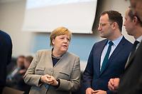 DEU, Deutschland, Germany, Berlin, 10.03.2020:  Bundeskanzlerin Dr. Angela Merkel (CDU) und Bundesgesundheitsminister Jens Spahn (CDU) vor Beginn der Fraktionssitzung der CDU/CSU im Bundestag.