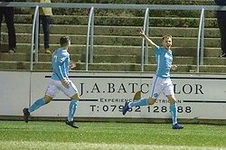 Forfar Athletic's Lewis Moore (11) cele scoring their first goal. Forfar Athletic 2 v 3 Arbroath, Scottish Football League Division One played 8/12/2018 at Forfar Athletic's home ground, Station Park, Forfar.