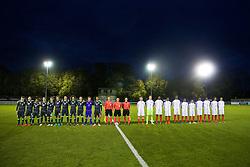 BANGOR, WALES - Saturday, November 12, 2016: Wales and England players line-up before the UEFA European Under-19 Championship Qualifying Round Group 6 match at the Nantporth Stadium. (Pic by Gavin Trafford/Propaganda)