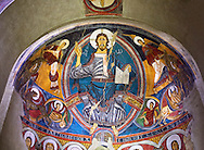 Romanesque frescoes from the Church of Sant Clement de Taull, Vall de Boi, Alta Ribagorca, Spain. Painted around 1123 depicting Christ Pantocrator or In Majesty.  National Art Museum of Catalonia, Barcelona. MNAC 15806