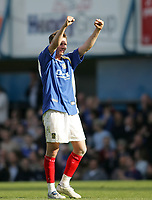 Photo: Lee Earle.<br /> Portsmouth v Sunderland. The Barclays Premiership. 22/04/2006. Pompey's Matthew Taylor celebrates at the end of the game.