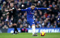 Chelsea's Eden Hazard scores his side's second goal of the game during the Premier League match at Stamford Bridge, London.