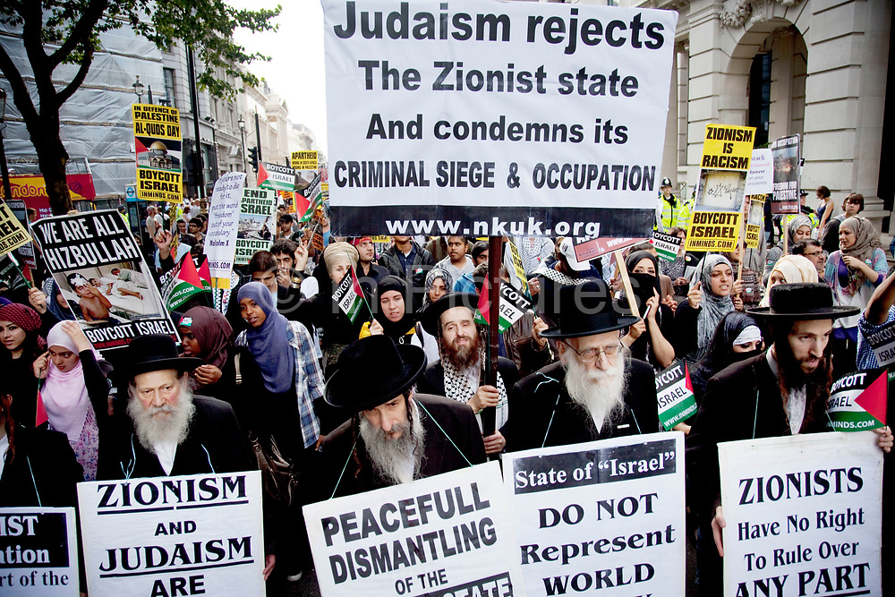 Rabbis for Palestine, an Orthodox Jewish human rights organisation demonstrate in central London Al-Quds Day in support of the rights of the Palestinian people and to end the more than 60 years of Israeli occupation and mistreatment. Their anti Zionist message requests that the media and world leaders have a more honest and open policy on the Palestinian issue, highlighting the Gazan blockade as subhuman and to live in peace and harmony just as in the past before Zionism came into being.