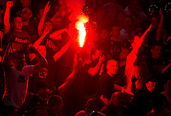 Fans of Partizan during final match of Basketball NLB League at Final four tournament between KK Union Olimpija (SLO) and Partizan Belgrade (SRB), on April 21, 2011 in Arena Stozice, Ljubljana, Slovenia.  (Photo By Vid Ponikvar / Sportida.com)