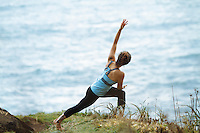 Young woman doing along the Oregon Coast.
