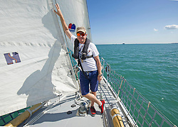 Simon Le Bon on a 72 foot Challenger yacht in the Solent off Portsmouth where he announced his partnership with the Tall Ships Youth Trust.