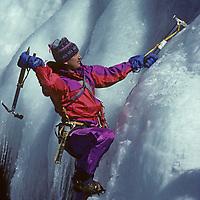 Alan Bard (MR) climbs frozen Habegger Falls in the Sierra Nevada near Bishop, California.