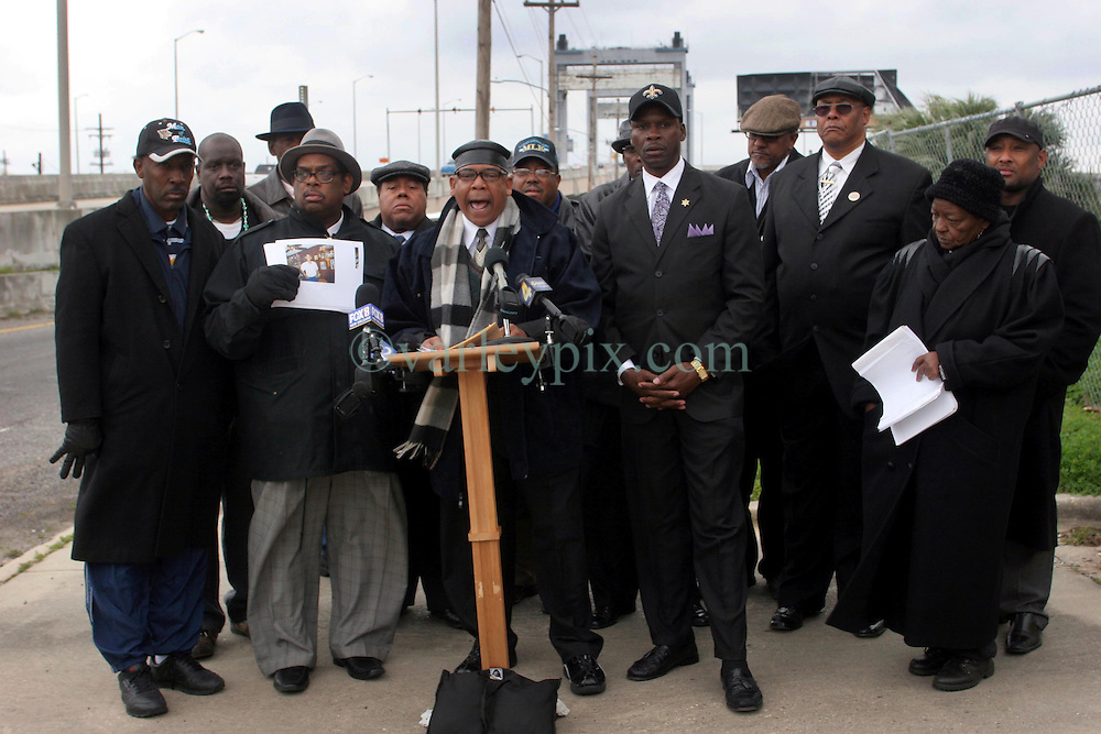 02 March 2010. New Orleans, Louisiana, USA. Danziger Brtidge..Civil Rights leaders gather at the notorious Danziger Bridge in New Orleans East, scene of the Sunday Sept 4th, 2005 murder of 40 yr old Ronald Madison and 19 yr old James Brissette by New Orleans police. .Reverend Dr Norwood Thompson Jr addresses the media..The police are under federal investigation for an alleged cover up of the botched killings in the chaotic aftermath of hurricane Katrina. .Photo; Charlie Varley.