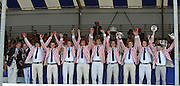 Henley, GREAT BRITAIN. [The Princess Elizabeth Challenge Cup (JM8+)]  Abingdon School, collect, their Trophy,  from, left, The Rt. Hon. The Lord Mayor of London. Alderman David WOTTON at 2012 Henley Royal Regatta...Sunday  17:51:05  01/07/2012. [Mandatory Credit, Peter Spurrier/Intersport-images]...Rowing Courses, Henley Reach, Henley, ENGLAND . HRR.