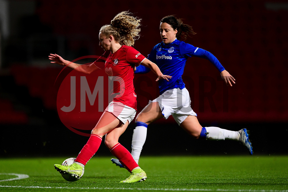 Katie Robinson of Bristol City is marked by Maeva Clemaron of Everton Women - Mandatory by-line: Ryan Hiscott/JMP - 17/02/2020 - FOOTBALL - Ashton Gate Stadium - Bristol, England - Bristol City Women v Everton Women - Women's FA Cup fifth round