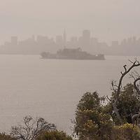 Downdown San Francisco, Alcatraz Island & San Francisco Bay, as seen from Angel Island State Park, California.
