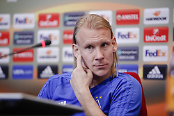 September 13, 2017 - Kiev, Ukraine - Dynamo Kyiv's player Domagoj Vida attends a news conference in Kyiv, Ukraine, September 13, 2017. FC Dynamo Kyiv gets the last preparation before the game against Albanian SkÃ«nderbeu in the UEFA Europa League Group B opener. (Credit Image: © Sergii Kharchenko/NurPhoto via ZUMA Press)