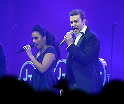 02 Feb 2013. New Orleans, Louisiana. .Justin Timberlake plays the DIRECTV concert in his first live performance for several years as the city prepares for the XLVII (47th) Annual Super Bowl with the Baltimore Ravens against the San Francisco 49ers. .Photo; Charlie Varley