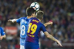 October 21, 2017 - Barcelona, Catalonia, Spain - Lucas Digne from France of FC Barcelona during the La Liga match between FC Barcelona v Malaga at Montilivi Stadium on October 21, 2017 in Barcelona, Spain. (Credit Image: © Xavier Bonilla/NurPhoto via ZUMA Press)