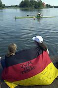 Trakai, LITHUANIA.  German supporters wearing the German Flag, 2002 Junior World Rowing Championships, on Lake Galva Friday  09/08/2002 [Mandatory Credit: Peter Spurrier/ Intersport Images] 200208 Junior World Rowing Championships, Trakai, LITHUANIA