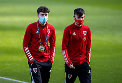 DUBLIN, REPUBLIC OF IRELAND - Sunday, October 11, 2020: Wales' Neco Williams (L) and Dylan Levitt (R), wearing face masks, during the UEFA Nations League Group Stage League B Group 4 match between Republic of Ireland and Wales at the Aviva Stadium. The game ended in a 0-0 draw. (Pic by David Rawcliffe/Propaganda)